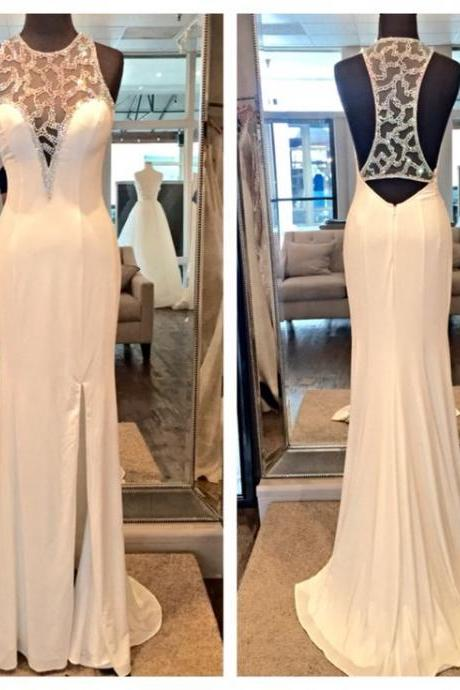 2016 Sexy Cheap Prom Dresses Real Iamge Luxury Bling Mermaid White Beads Backless Sheer Back Long Formal Evening Party Gowns