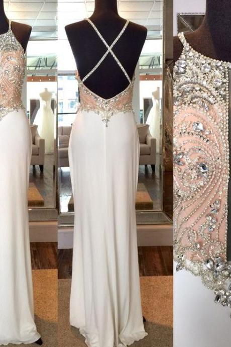 2016 Real Image Sexy Prom Dresses Halter Sheer Bodice Bling Luxury Sparkle Mermaid White Beads Rhinestones Crystals BacklessLong Formal Evening Party Gowns Vestidos