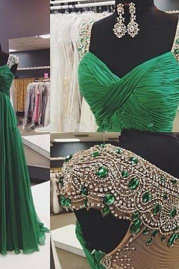 2016 Real Image Evening Dresses A-Line Emerald Green Sweetheart Cap Sleeves Ruched Rhinestones Beads Sheer Back Chiffon Long Formal Prom Party Gowns Vestidos