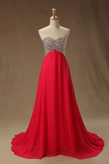 2016 Real Image Prom Dress A-line Red Sweetheart Beads Rhinestones Chiffon Long Formal Evening Party Gowns Vestidos