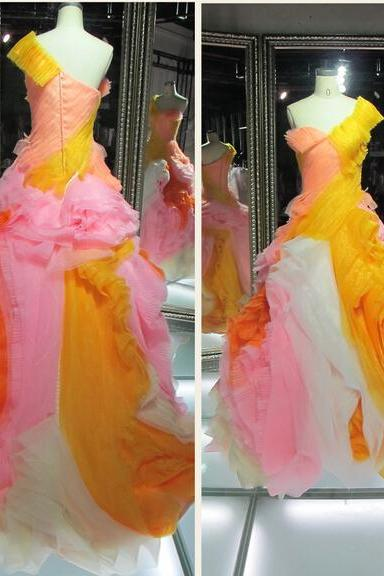2016 Real Image Colorful Wedding Dresses Vestidos de Novia Luxury Sparkle Bling Ball Gown One Shoulder Lace Up Organza Wedding Dress Bridal Gowns