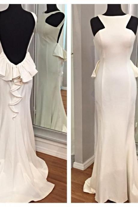 2016 Real Image Cheap Prom Dress Mermaid White Crew Backless Spandex Long Formal Evening Party Gowns Vestidos
