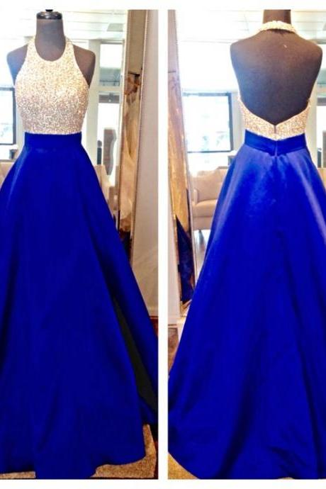 2016 Real Image Prom Dress A-line Royal Blue Sequins Lace Backless Satin Long Formal Evening Party Gowns Vestidos