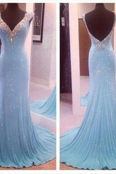 2016 Real Image Prom Dresses Bling Sparkle Luxury Mermaid Turquoise V-neck Backless Sequins Lace Long Evening Prom Party Gowns Vestidos