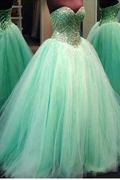 2016 Real Image Prom Dresses Luxury Sparkle Bling Ball Gown Mint Sage Sweetheart Crystals Beads Lace Up Tulle Long Formal Evening Party Gowns Vestidos