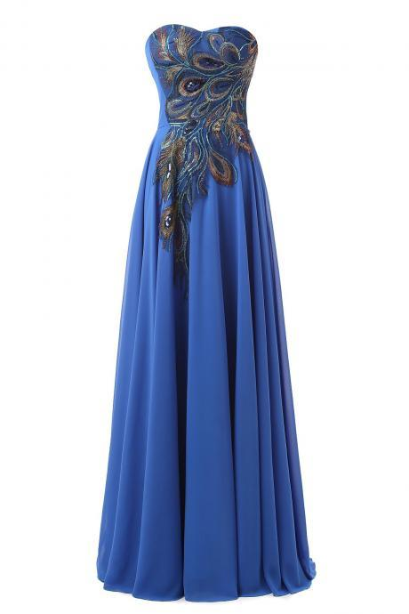 peacock embroidery, sweetheart prom dresses, long prom dress, Chiffon prom dresses