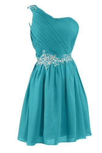 Sunvary Embroidery Waist, One shoulder, Bridesmaid Dress, Homecoming Dresses for Juniors, Short Prom dresses