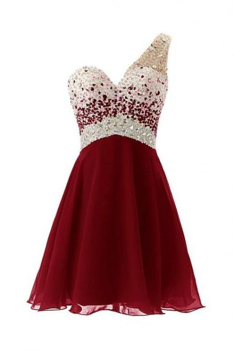 Dresstells, One Shoulder, Homecoming Dress, with Beadings, Short Bridesmaid Dress Burgundy, Short Prom dress