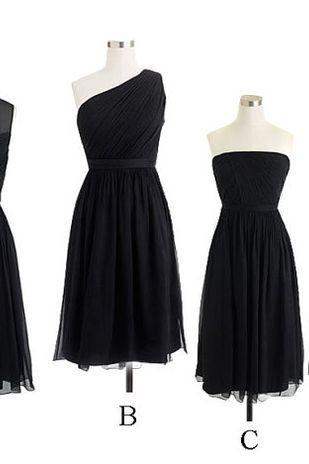 Custom made, Bridesmaid Dress,Short Black Brides maid Dresses