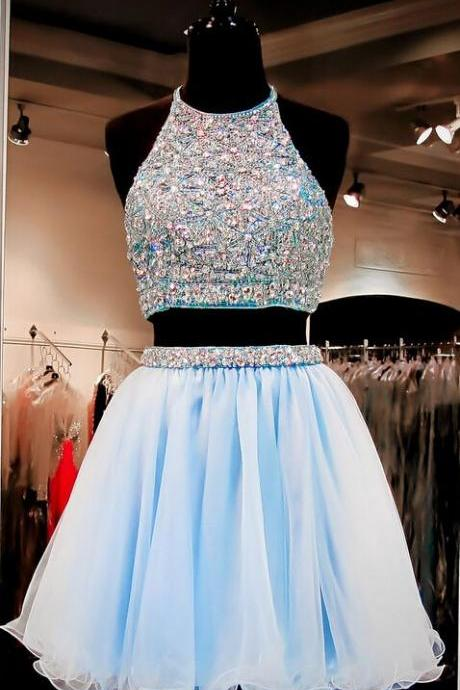 Two Pieces Homcoming Dresses, bodice Zipper Fleabane Gauze Homcoming Dresses, For Teens Short Prom Dresses, Mini Dresses