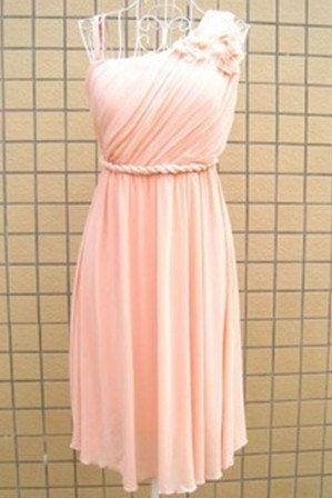 Knee Length, One Shoulder, Pink, Empire Bridesmaid Dress, Formal, Short Prom Dress, Fashion, Chiffon, Wedding Party Dress, Short Evening Dress