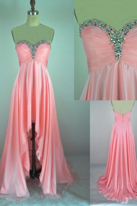 CharmingProm Dress,Sweetheart Prom Dress,A-Line Prom Dress,Sequined Prom Dress,Poplin Prom Dress, High Low pink modest Gowns