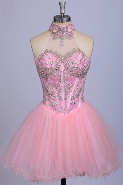A-Line Pink Homecoming Dresses,Beaded Prom Dresses,Sexy halter Homecoming Dresses,Tulle Evening Dresses