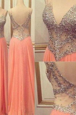 Beading New Style Prom Dress, Charming Real Made Prom Dress,Sexy V-Neck Evening Dress