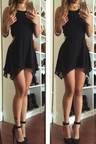 Little Black Homecoming Dress,Chiffon Prom Dress,Sexy Halter Homecoming Dress,backless for summer party
