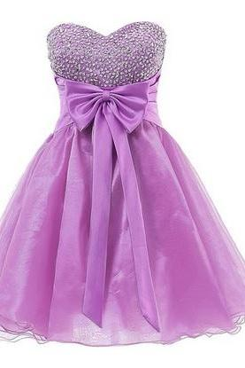 Organza Homecoming Dresses,Elegant Evening Dresses,Beaded Bridesmaid Dresses,Bowknot Prom Dress