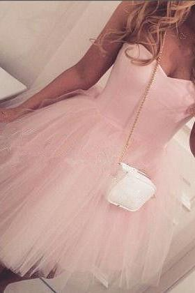 Cute Pink Homecoming Dress,Sweetheart Prom Dress,Tulle Ball Gown Homecoming Dress