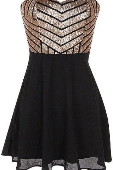 Charming Sequin Homecoming Dress,Black Chiffon Prom Dress,Sweetheart Cocktail Dress