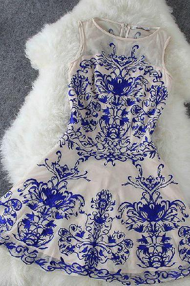 Charming Chinese Classical Homecoming Dress,Blue Nude Porcelai Prom Dress,Short Tulle Homecoming Dress