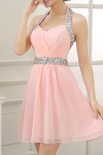 Cute Pink Homecoming dress, Short Halter prom dress,Beaded chiffon prom dress,Sweetheart And Backless Cocktail Dress,Party Dress
