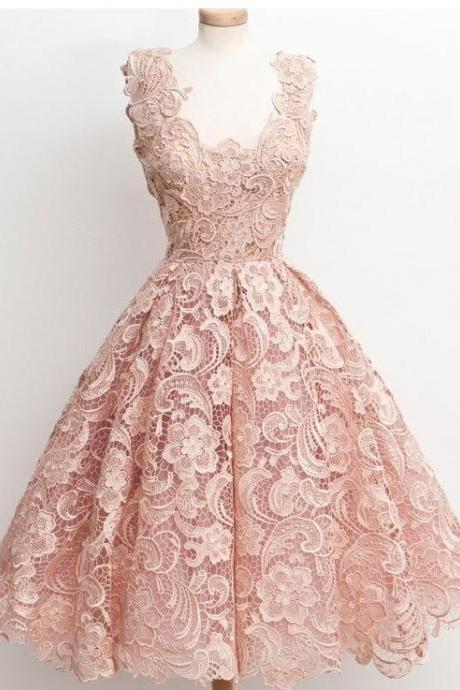 Elegant Pink Homecoming Dress,Lace charming Short Prom Dress,Vintage Bridesmaid dresses