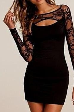 sexy lace homecoming dress, tight short cocktail dress,long sleeve evening dress,sexy black party dress