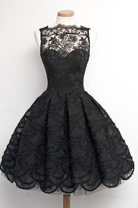 2016 mysterious black homecoming dress,sexy lace prom dress,sleeveless party dress