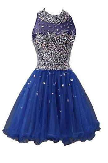 2016 Custom Homecoming Dresses, Blue Beaded Homecoming dresses, Sexy Tulle Homecoming Dresses,Party Dresses