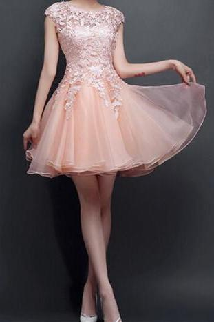 2016 New Style Blush Pink Homecoming Dresses, Lace See Through Prom Dresses, Cute Homecoming Dresses, Sexy Cocktail Dresses, Custom Prom Dresses,