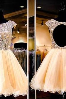 2016 Custom Champagne Homecoming Dress, Short sleeve Prom Dress, Tulle Party Dress, Sexy Mini prom Dress,Shiny Beading Dress