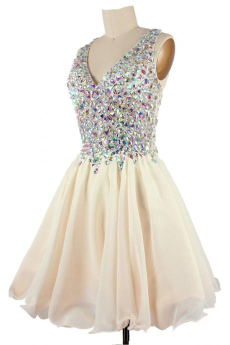 2016 Rhinestone Homecoming dresses, Champagne Homecoming dresses, Cute Prom dresses, sexy Open Back Party dresses, Custom prom dresses