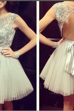 Sexy Open back Homecoming Dress, Short Sleeves Prom Dress,Shny Beading Party Dress, Bowknot prom Dress, Mini Cocktail Dress