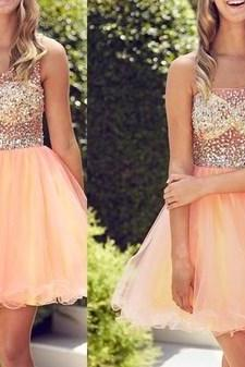 2016 See through Homecoming Dress, Peach one shoulder Prom Dress,Tulle Beading Homecoming Dress,Mini prom Dress,Sexy Prom Dress