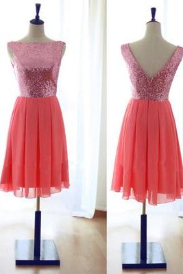 2016 New Style Red Sequin Homecoming Dress, Off shoulder Prom Dress, Sexy Cocktail Dress, Open Back prom Dress, Chiffon homecoming Dress