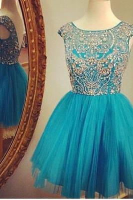 2016 Custom Turquoise rhinestone Homecoming Dress, Luxury Beading Dress, Tulle Ball Gown For Cocktail,Party