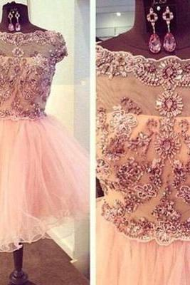 2016 Dusty pink Homecoming Dress, Sexy Open back Prom Dress, Lace Party Dress, Tulle Mini Dress,Flowers Evening Dress