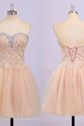 2016 Champagne Lace Homecoming dresses, Sexy Sweetheart Prom dresses, Beading Homecoming dresses, Lace Up Back Homecoming dresses, Custom prom dresses
