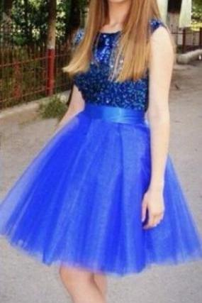 Royal Blue Homecoming Dress,Cute Sequins Prom Dress,Sleeveless Party Dress,Tulle Homecoming Dress For Teens,Cheap Homecoming Dress