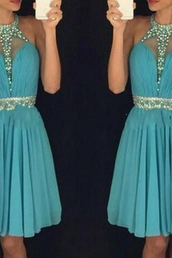 Blue Homecoming Dress,Halter Homecoming Dresses,Beaded Prom Gowns,Backless Party Dress,Cute Short Dress For Graduation Party