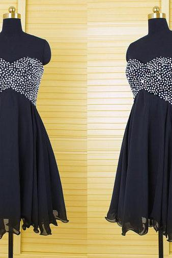 chiffon beaded homecoming dresses,short party dresses,sweetheart prom dresses,sexy backless dresses,graduation dresses