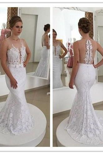 Sleeveless Lace Mermaid Wedding Dress Featuring Sheer Back