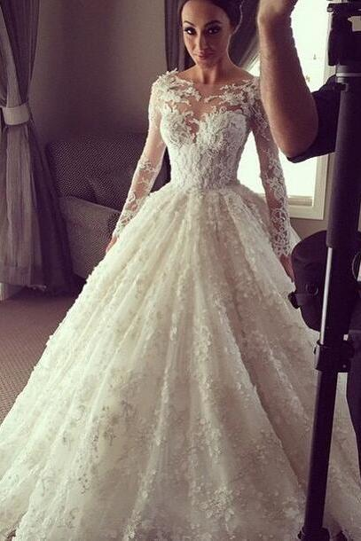 Princess A Line V Neck Empire Waist White Lace backless Wedding Dresses,Custom Made Wedding Dress