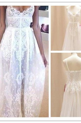 2016 Customized White Lace Wedding Dress,Sexy Sleeveless Spaghetti Straps Evening Dress,Deep V-Neck Wedding Gowns