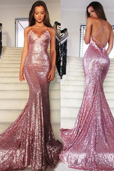 Charming Sequins Pink Prom Dress,Sexy Spaghetti Straps V-Neck Evening Dress,Sexy Backless Prom Dress