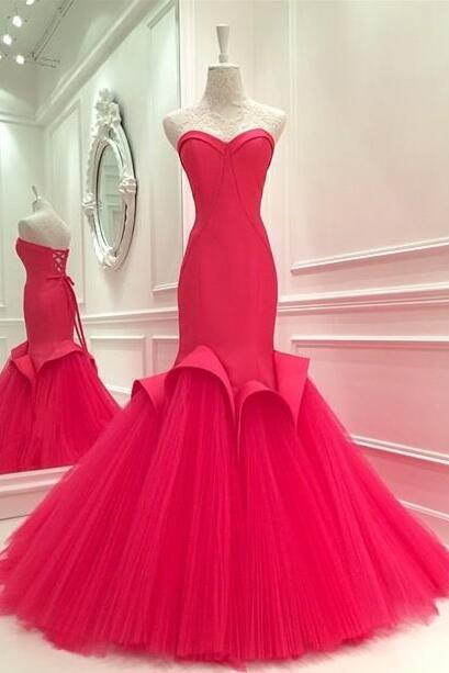 Custom Made Sweetheart Neckline Floor Length Mermaid Tulle Prom Dress