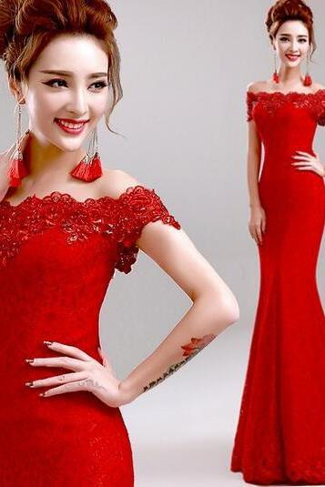 2016 Custom Red Lace Prom Dress, Sexy Off The Shoulder Evening Dress ,Sexy Beading Prom Dress
