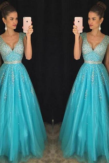 Charming Blue Chiffon Beading Prom Dress, Strapless Deep V-Neck Evening Dress,Sexy Backless Prom Dress