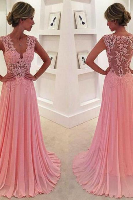 Brilliant Pink Chiffon Prom Dress,Sexy Short Sleeves V-Neck Evening Dress,Sexy See Through Backless Prom Dress