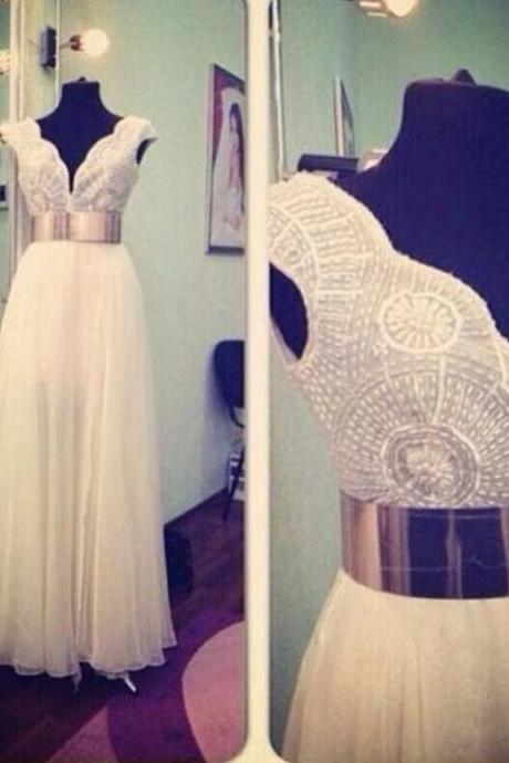 Charming White Chiffon Prom Dress,Sexy Sleeveless Evening Dress,Sexy Backless Gold Belt Prom Dress