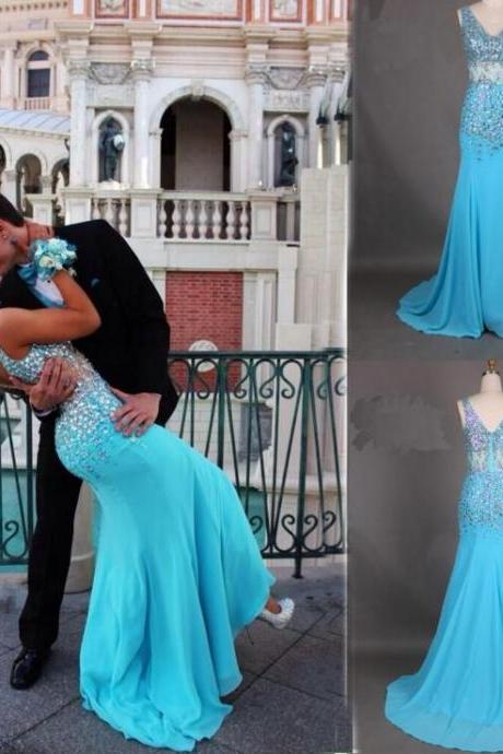 Charming Light Blue Chiffon Beading Prom Dress,Sexy Sleeveless Evening Dress,Sexy Backless Beading Prom Dress